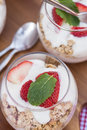 Delicious fresh strawberries and yoghurt breakfast with at Stock Photos