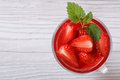 Delicious fresh strawberry drink top view Royalty Free Stock Photo