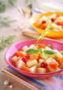 Delicious fruits salad in plate Royalty Free Stock Photo