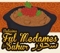 Ful Medames: Egyptian Dish for Ramadan Celebration, Vector Illustration