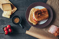 A delicious griled panini sandwich. Top view. Royalty Free Stock Photo