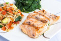 Delicious grill salmon with side dishes Royalty Free Stock Photo