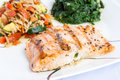 Delicious grill salmon with side dishes Stock Photography