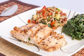 Delicious grill salmon with side dishes healthy menu Royalty Free Stock Image