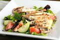 Delicious grilled chicken salad freshly prepared chef style with tomato cucumber green pepper and romaine lettuce Stock Photo