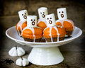 Delicious Halloween treat for dessert, pumpkin chocolate muffins Royalty Free Stock Photo
