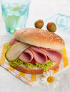 Delicious hamburger like a monster for kids party selective focus Stock Image