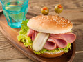 Delicious hamburger like a monster for kids party selective focus Royalty Free Stock Photo