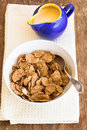 Delicious and healthy granola with dry fruits nuts and milk bowl of Royalty Free Stock Photo