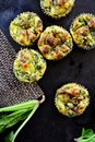 Keto Diet Muffins with Almond Flour, Spinach, Eggs and Cheese