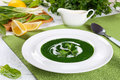 Delicious healthy spinach soup, top view Royalty Free Stock Photo