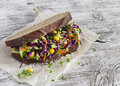 Delicious healthy vegetarian open cole slaw and a chickpea sandwich. Royalty Free Stock Photo