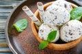 Delicious homemade ice cream with chocolate crumb.