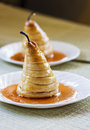 Delicious homemade poached pears puff pastry Stock Photos