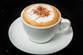 Delicious hot Cappuccino with cinnamon in a white cup.