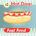 Delicious hot dog grunge cover for fast food menu on a vintage background Stock Photos