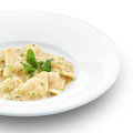 Delicious hot ravioli with meat healthy on white Royalty Free Stock Photos