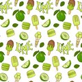 Delicious ice cream and lime color seamless vector handdrawn pattern.