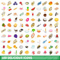 100 delicious icons set, isometric 3d style