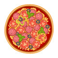 Delicious italian pizza icon with pepperoni isolated on white