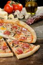 Delicious italian pizza with Salami and egg Royalty Free Stock Photo