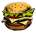 Delicious juicy burger isolated on white sketch vector illustration Royalty Free Stock Photo