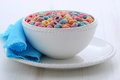 Delicious kids cereal loops and nutritious with fresh milk Royalty Free Stock Images