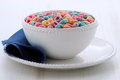 Delicious kids cereal loops and nutritious with fresh milk Royalty Free Stock Photos