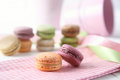 Delicious macaroons on napkin Royalty Free Stock Images