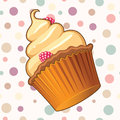 Delicious muffin vector illustration of a looking against pastel colored background Stock Image