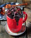 Delicious Mug Cake, chocolate cherry cake cooked in a cup in the microwave Royalty Free Stock Photo