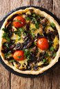 Delicious mushroom tart with cheese, greens and tomatoes close-u Royalty Free Stock Photo