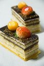 Delicious Opera cake with layers of chocolate ganache Royalty Free Stock Photo