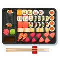 Delicious oriental takeaway sushi set on tray Royalty Free Stock Photo