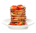 Delicious pancakes with strawberry isolated on white Royalty Free Stock Photo