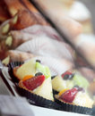 Delicious pastries in shop window Stock Photography