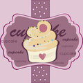 Delicious pink cupcake a with hearts in a purple background with text Stock Images