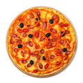 Delicious pizza with sausages, peppers and olives Royalty Free Stock Photo