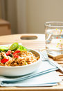 Delicious plate of stir fry noodles Stock Images