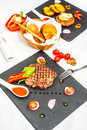 Delicious portion of healthy grilled lean medium rare beef steak Royalty Free Stock Photo