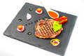 Delicious portion of healthy grilled lean medium rare beef steak cut Royalty Free Stock Photo