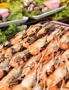 Delicious prawn on the grill bbq shrimp Royalty Free Stock Images