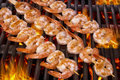 Delicious prawn spit on grill with flames in background Royalty Free Stock Photo
