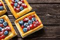 Delicious puff pastry dessert with berries Royalty Free Stock Photo