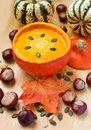 Delicious pumpkin soup with cream and seeds Royalty Free Stock Photography