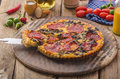 Delicious quiche with chorizo, nuts and sharp cheese Royalty Free Stock Photo