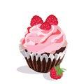 Delicious raspberry Cupcake isolated
