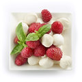 Delicious raspberry salad with mozarella and basil served in a small bowl shot from above Royalty Free Stock Photos