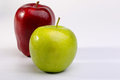 Delicious red apples and granny smith apple on white background Stock Photography