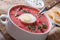 Delicious red beet soup with egg and sour cream close-up Royalty Free Stock Photo